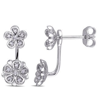 Laura Ashley Sterling Silver 1/8ct TDW Diamond Stud Flower 2-piece Earrings (G-H, I2-I3)