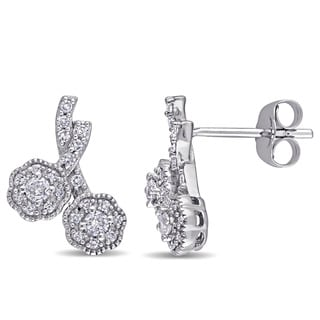 Laura Ashley 10k White Gold 1/3ct TDW Diamond Double Flower Stud Earrings (G-H, I2-I3)