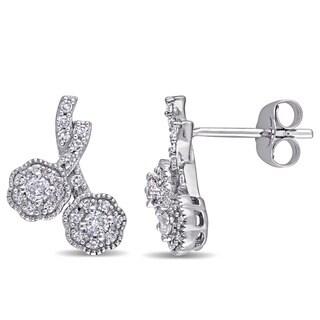 Laura Ashley 10k White Gold 1/3ct TDW Diamond Double Flower Stud Earrings
