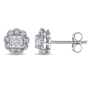 Laura Ashley 10k White Gold 1 /2ct TDW Diamond Flower Stud Earrings (G-H, I2-I3)