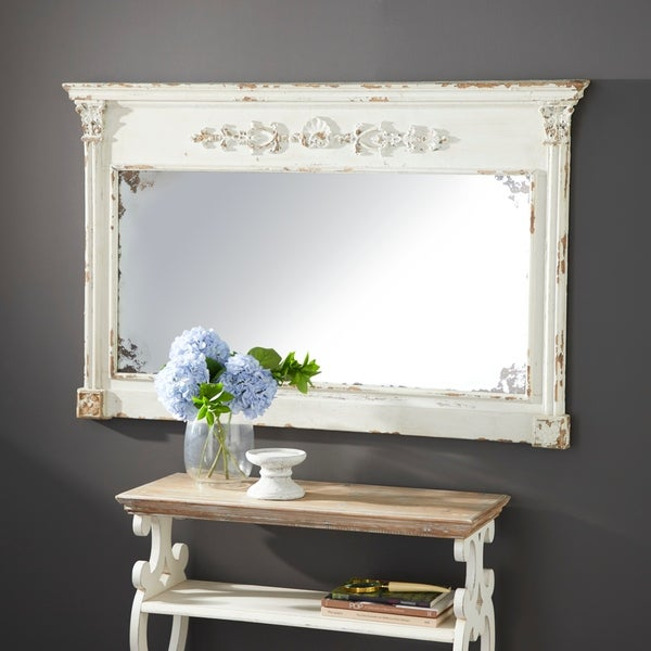 Farmhouse 36 Inch Rectangular Wooden Framed Wall Mirror by Studio 350 - Off-White