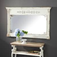 "59"" x 36"" Rectangular White Wood Vintage Wall Mirror by Studio 350 - Antique White"