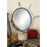 Coastal 24 Inch Blue and White Ship's Wheel Wall Mirror by Studio 350 - Multi
