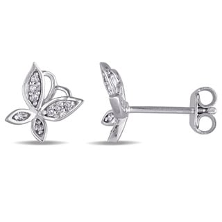 Laura Ashley Sterling Silver 1 /10ct TDW Diamond Butterfly Stud Earrings (G-H, I2-I3)