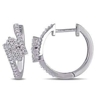 Laura Ashley 10k White Gold 1/3ct TDW Diamond Bridal Hoop Earrings (G-H, I2-I3)