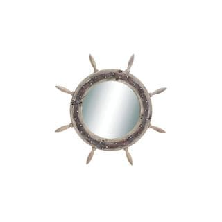 Wood and Glass Ship Wheel Mirror