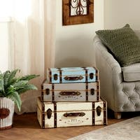 Set of 3 Farmhouse 18, 21, and 23 Inch Wooden Case Boxes by Studio 350 - assorted (turquoise, pale blue, white) - N/A