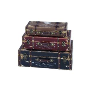 Set of 3 Old-Fashioned Wooden Chests