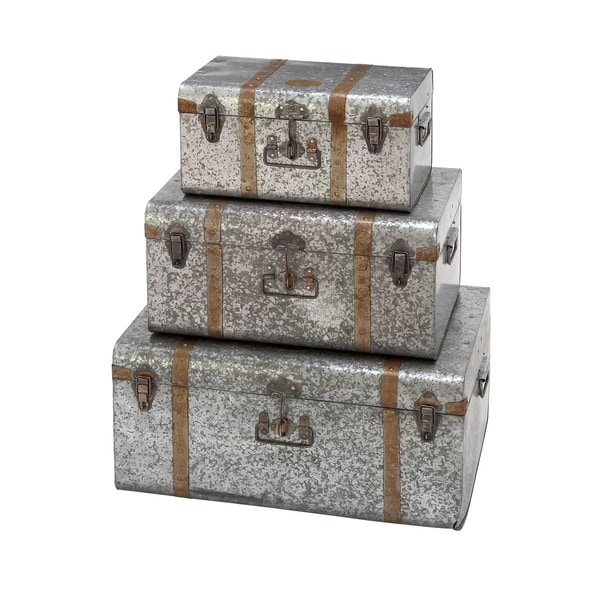 Set of 3 Traditional 2, 26 and 30 Inch Wood Trunk Boxes by Studio 350 - grey - N/A