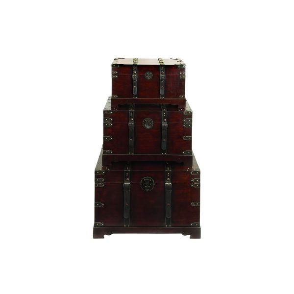 Wood Leather 30-inch Wide, 26-inch Wide, and 22-inch Wide Set of Three Trunks