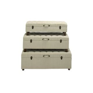 Wooden Fabric-covered 51-inch, 46-inch, and 44-inch Wide Trunks (Set of 3)