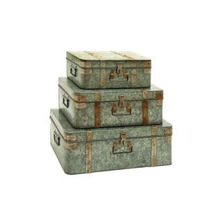 Galvanized Metal 15-inch, 18-inch, 21-inch Trunks (Set of 3)