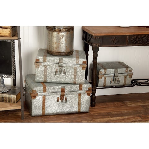 Set of 3 Rustic15, 19 and 23 Inch Galvanized Iron Trunks by Studio 350 - brown - N/A