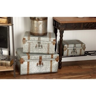Set of 3 Rustic15, 19 and 23 Inch Galvanized Iron Trunks by Studio 350 - grey