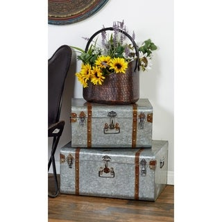 Set of 3 Farmhouse 16, 20, and 24 Inch Iron Trunks by Studio 350 - grey