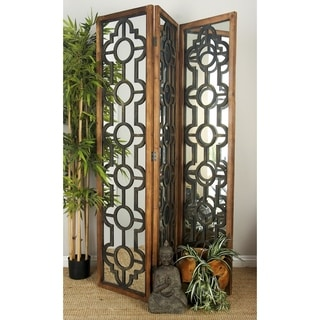Wood/Mirror 73-inches High x 54-inches Wide 3-panel Screen