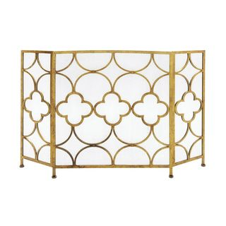 Goldtone Metal 35-inch x 50-inch Fire Screen