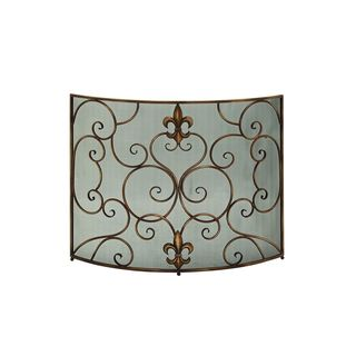 Oil Rubbed Bronze Metal 3 Panel Fire Screen