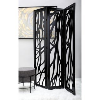 Traditional 72 X 48 Inch 3-Panel Branch Wooden Screen by Studio 350