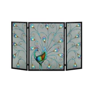 Blue/Black Iron 32-inches High x 48-inches Wide 3-panel Fire Screen
