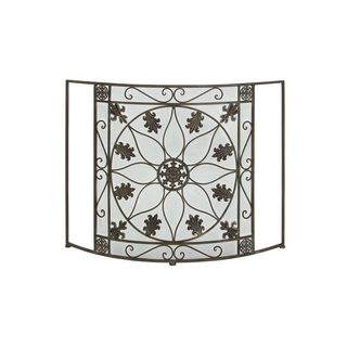 Black Wrought Iron 33-inches High x 43-inches Wide Fire Screen