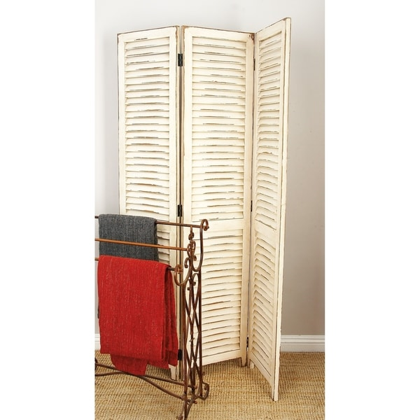 Rustic 71 x 48 Inch Three-Paneled Wooden Screen Divider by Studio 350