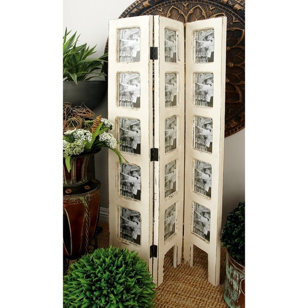 Farmhouse 51 Inch Wooden Three-Panel Photo Frame Screen by Studio 351