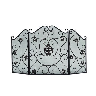 Traditional 30 x 47 Inch 3-Panel Scrollwork Fire Screen by Studio 350