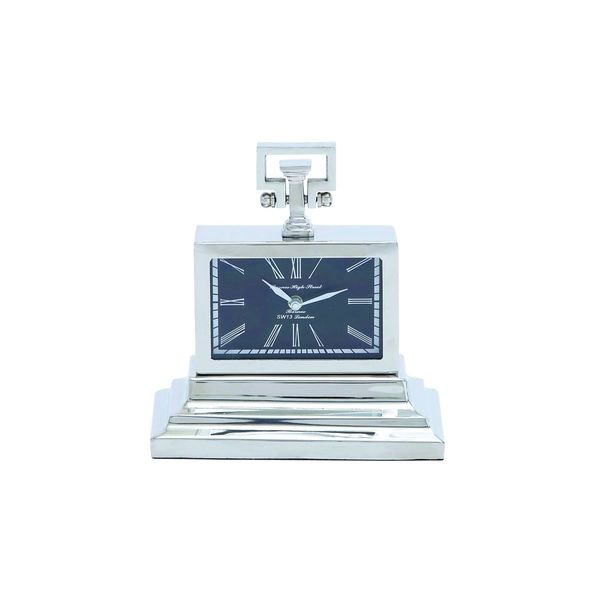 Stainless Steel and Nickel 10-inch High x 9-inch Wide Table Clock
