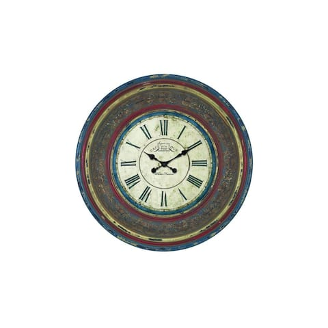 The Curated Nomad Jiminez Paris-inspired Wood 34-inches Diameter Wall Clock