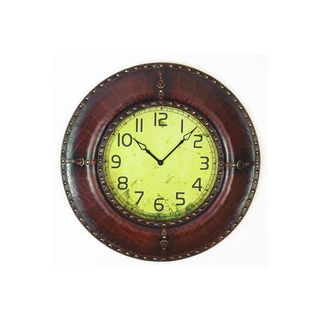 Wood, Leather 33-inch Wall Clock
