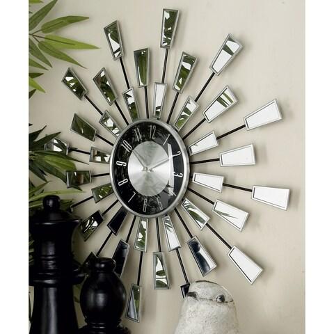 Modern 22 Inch Sunburst-Style Stainless Steel Wall Clock by Studio 350