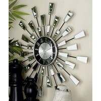 Modern 22 Inch Sunburst-Style Stainless Steel Wall Clock by Studio 350