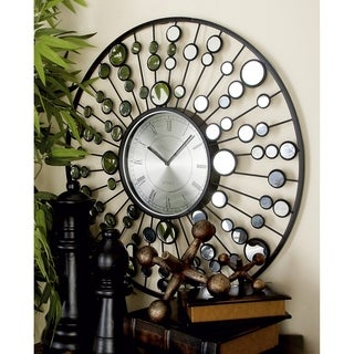 Grey/Black Wrought Iron 26-inch Diameter Mirrored Wall Clock