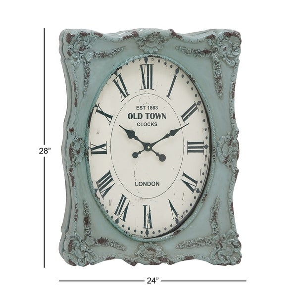 Rustic 27 x 23 Inch Distressed Green Resin Wall Clock by Studio 350