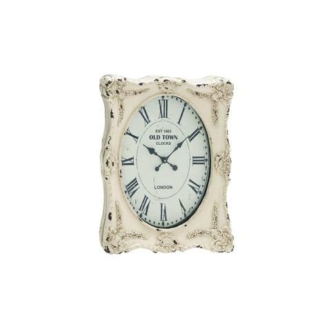The Gray Barn Joyful Stream Distressed Cream Resin 27-inch Wall Clock