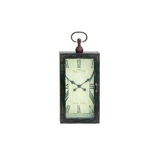 Black/Brown Wood/Iron 28-inch x 12-inch Wall Clock