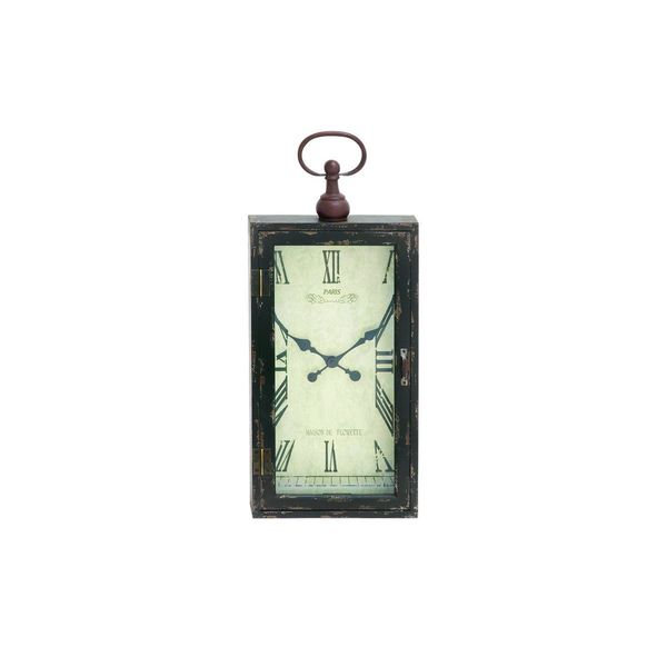 Black/Brown Wood/Iron 28-inch x 12-inch Wall Clock