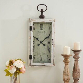 Farmhouse 28 x 12 Inch Wood and Metal Wall Clock by Studio 350