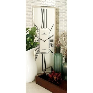 White/Silver Stainless Steel Wall Clock (8-inch x 24-inch)