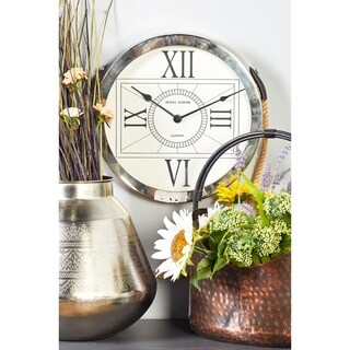 Steel 16-inch Wide x 32-inch High Hanging Wall Clock