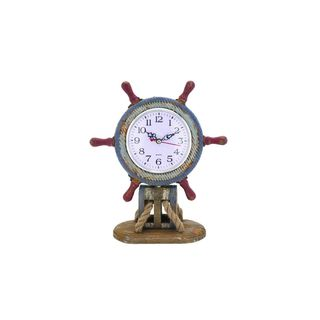 Wood 10-inch High 9-inch Wide Shipwheel clock