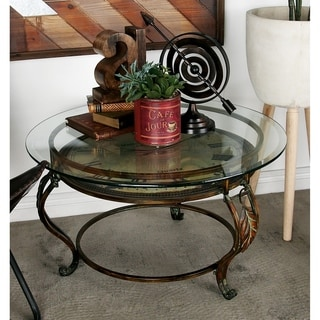 Metal and Glass Clock Face Coffee Table