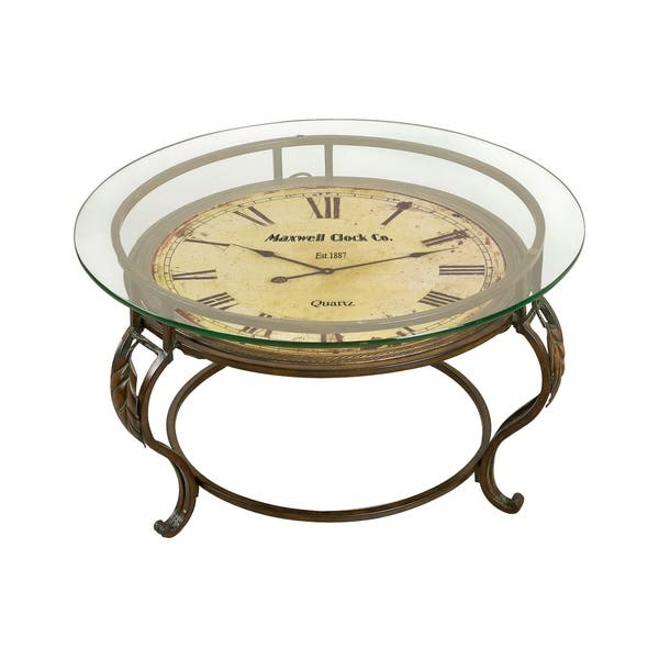 Metal And Gl Clock Face Coffee Table