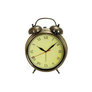 Antique Brass Metal 12-inch x 9-inch Table Clock