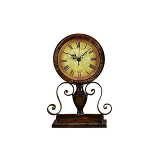 Vintage Reflections Metal 12-inch High x 8-inch Wide Table Clock