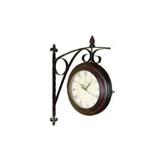 Black/Brown Metal 2-Side Wall Clock