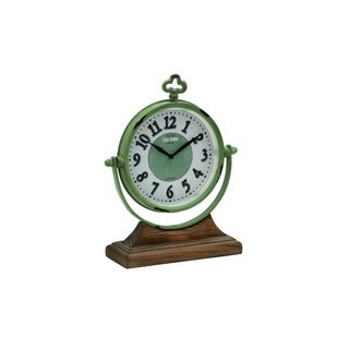 Sage Green/White Metal/Wood 10-inch Wide x 13-inch High Table Clock