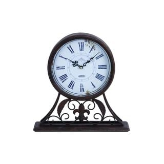 Rustic Elegance Metal 13-inches High x 13-inches Wide Table Clock