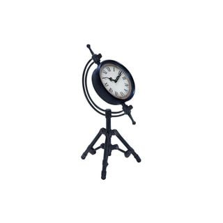Metal and Glass 14-inch High x 7-inch Wide Meridian Table Clock